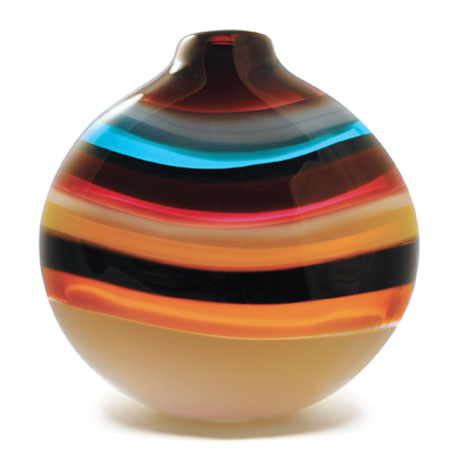 Hand blown glass decor. Cranberry Flat Round Vase by siemon and salazar