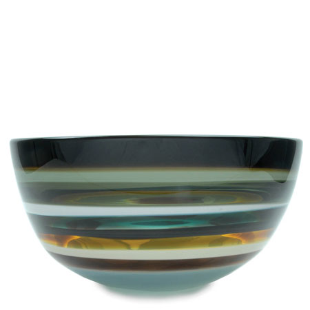 Hand blown glass decor. Stone Low Bowl by siemon and salazar