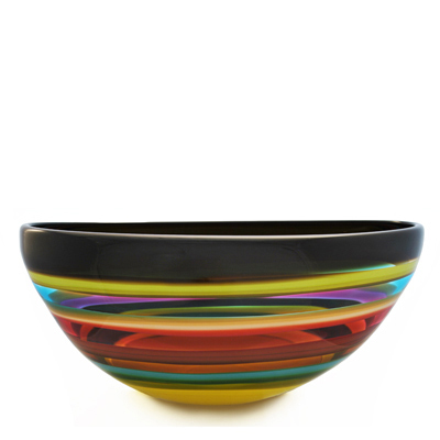 Hand blown glass decor. fiesta low bowl by siemon and salazar