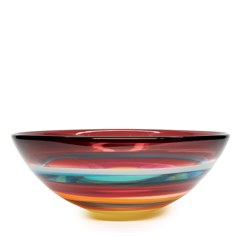 Hand blown glass decor. Cranberry Low Bowl by siemon and salazar
