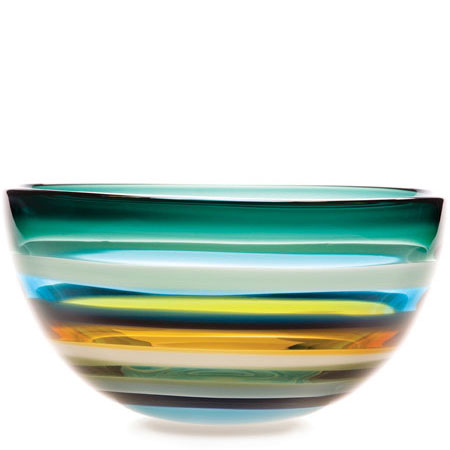 Hand blown glass decor. Aqua Low Bowl by siemon and salazar