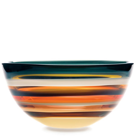 Hand blown glass decor. Amber Low Bowl by siemon and salazar