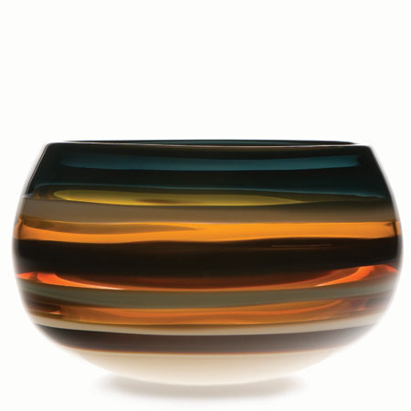 Hand blown glass decor. Amber Closed Bowl by siemon and salazar