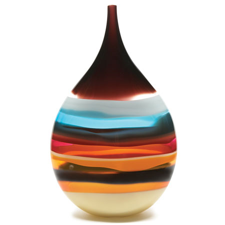 Hand blown glass decor. Cranberry Teardrop Vase by siemon and salazar