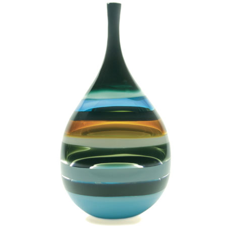 Hand blown glass decor. Aqua Teardrop Vase by siemon and salazar