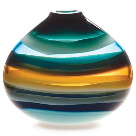 Hand blown glass decor. Aqua Low Oval Vase by siemon and salazar