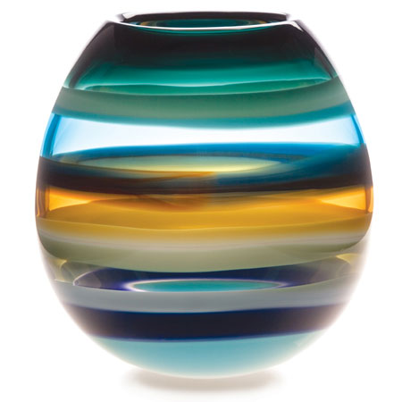 Hand blown glass decor. Aqua Barrel Vase by siemon and salazar