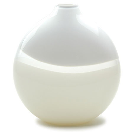 Hand blown glass decor. White/Ivory Lattimo Flat Round Vase by siemon and salazar