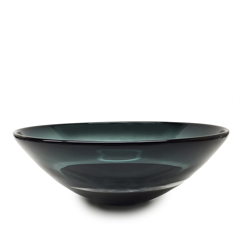 Hand blown glass decor. grey/black scuro low bowl by siemon and salazar