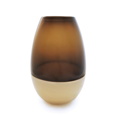 Hand blown glass decor. sargasso & latte barrel vase by siemon and salazar