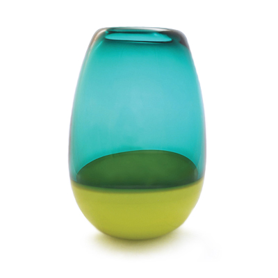 Hand blown glass decor. jade & chartreuse barrel vase by siemon and salazar