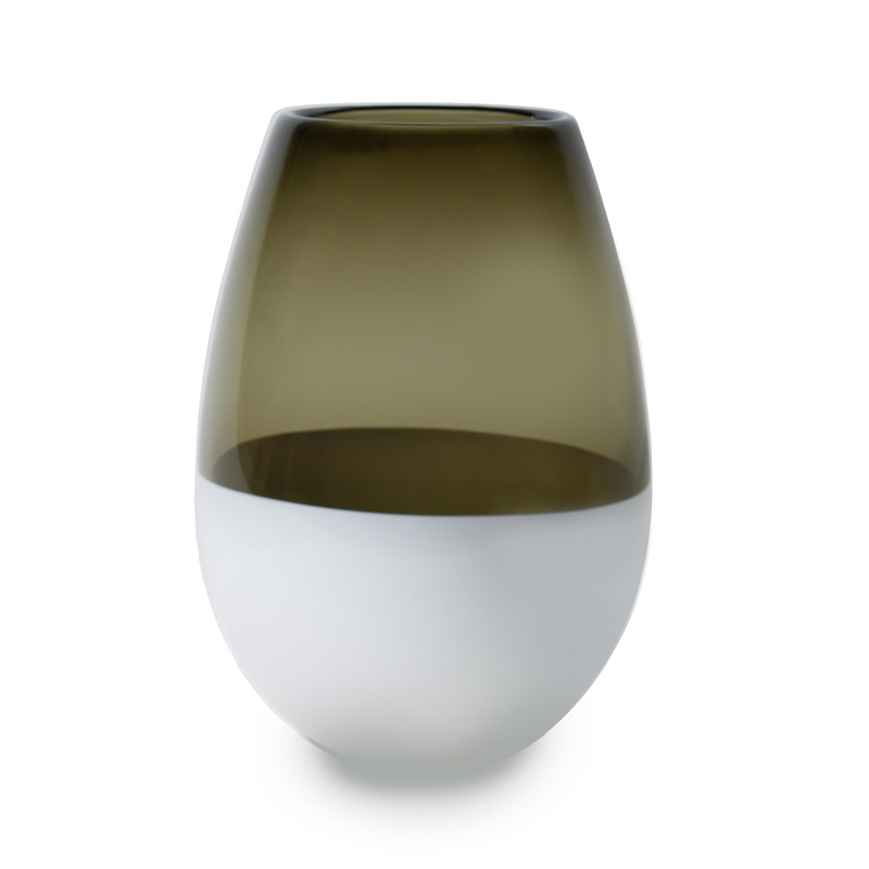 Hand blown glass decor. bronze & white barrel vase by siemon and salazar