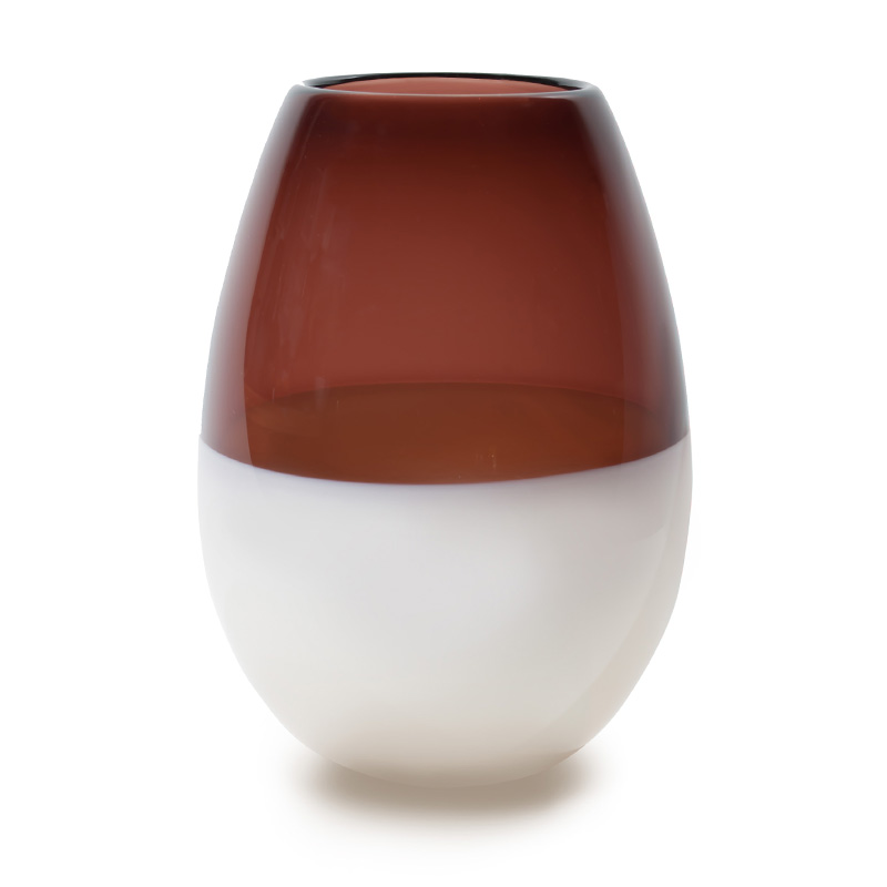 Hand blown glass decor. aubergine & ivory barrel vase by siemon and salazar