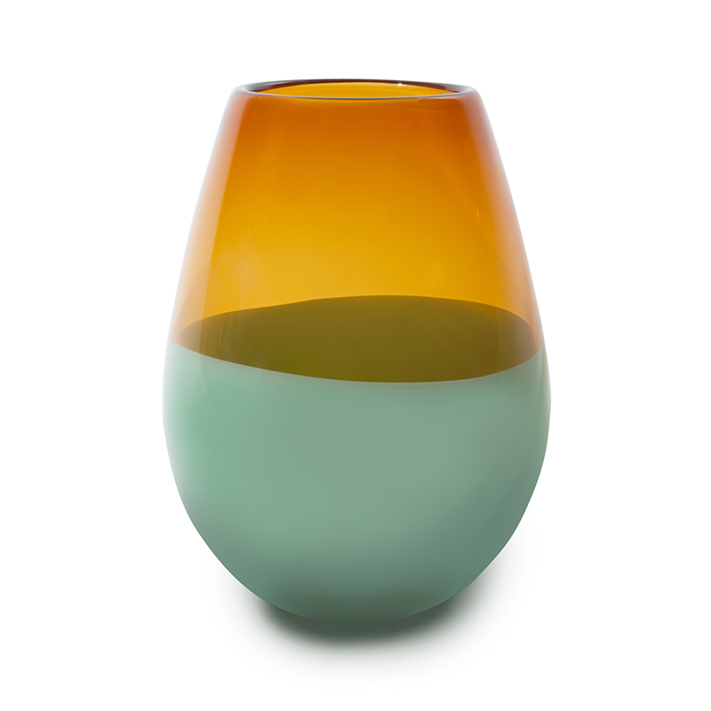 Hand blown glass decor. aurora & forest green barrel vase by siemon and salazar