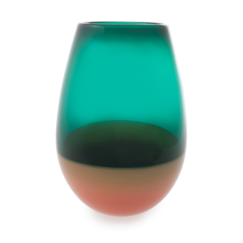 jade & salmon barrel vase