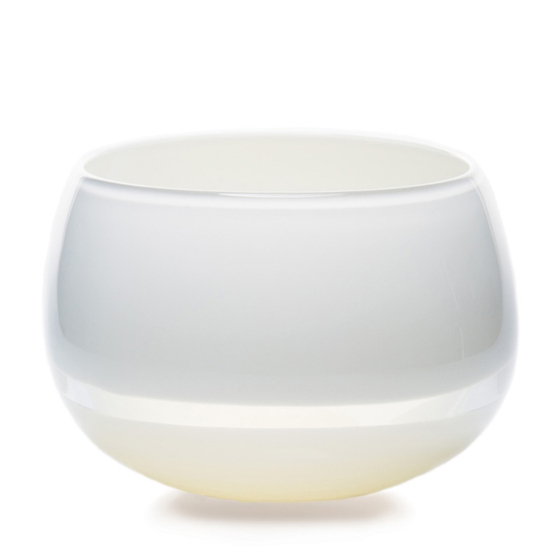Hand blown glass decor. white/ivory lattimo deep bowl by siemon and salazar