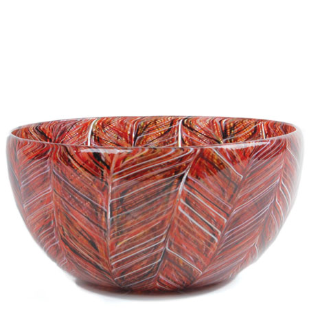 Thread Cane Carmine Low Bowl