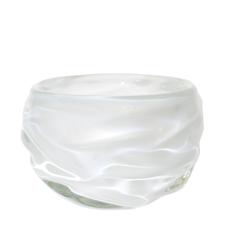 Hand blown glass decor. alabaster happy bowl by siemon and salazar