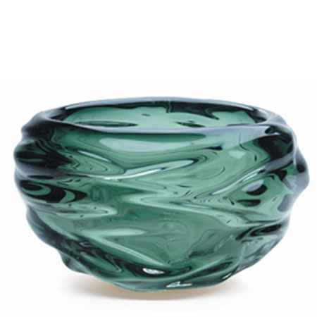 Hand blown glass decor. Steel Grey Happy Bowl by siemon and salazar