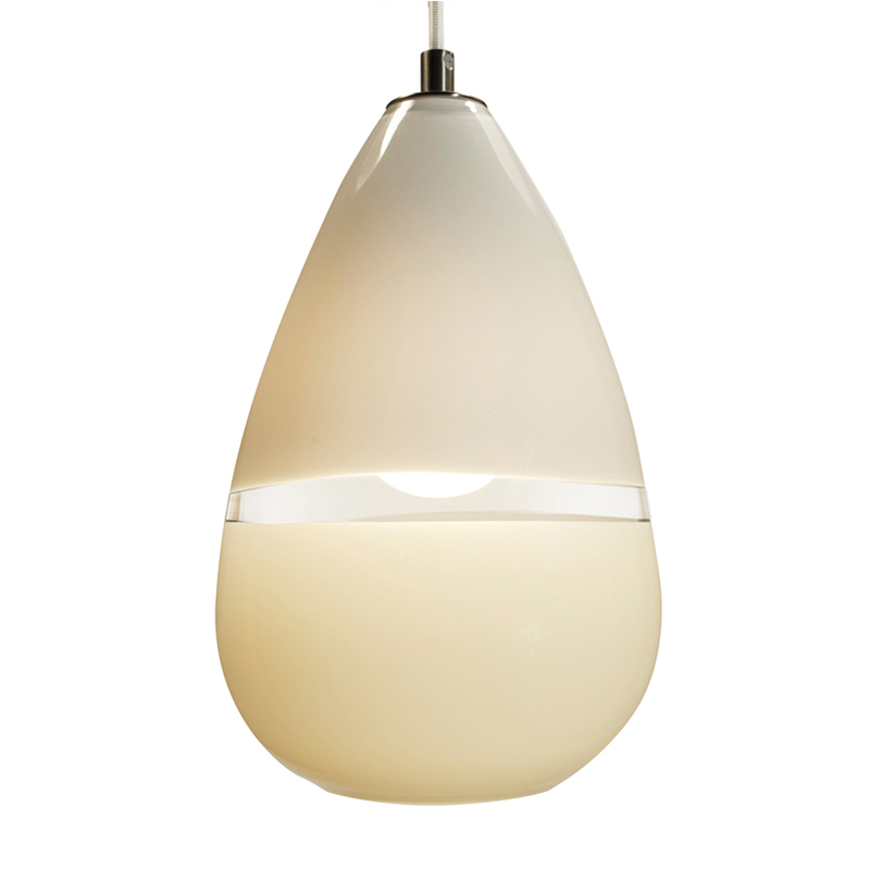 Hand Blown Glass Lighting. white/ivory lattimo teardrop pendant by siemon and salazar