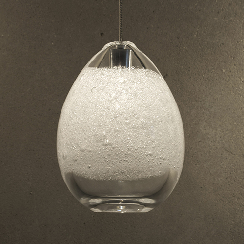 Hand Blown Glass Lighting. clear bubble egg light by siemon and salazar