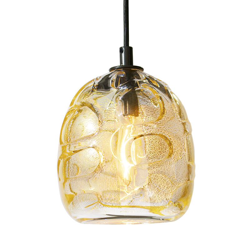 Hand Blown Glass Lighting. gold chaos wrap pendant by siemon and salazar