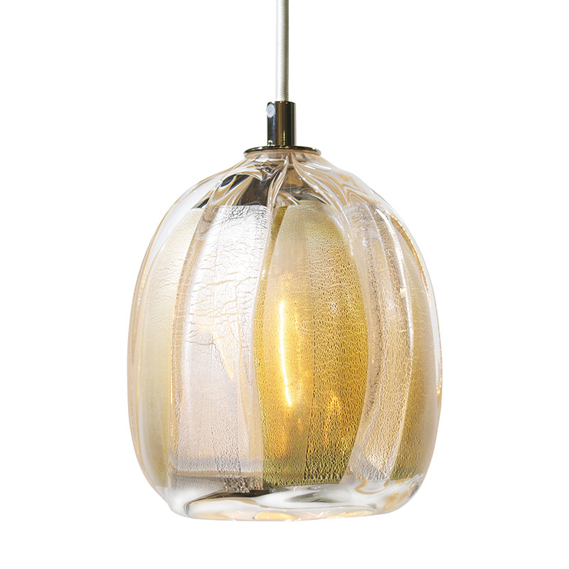 Hand Blown Glass Lighting. silver vertical wrap pendant by siemon and salazar