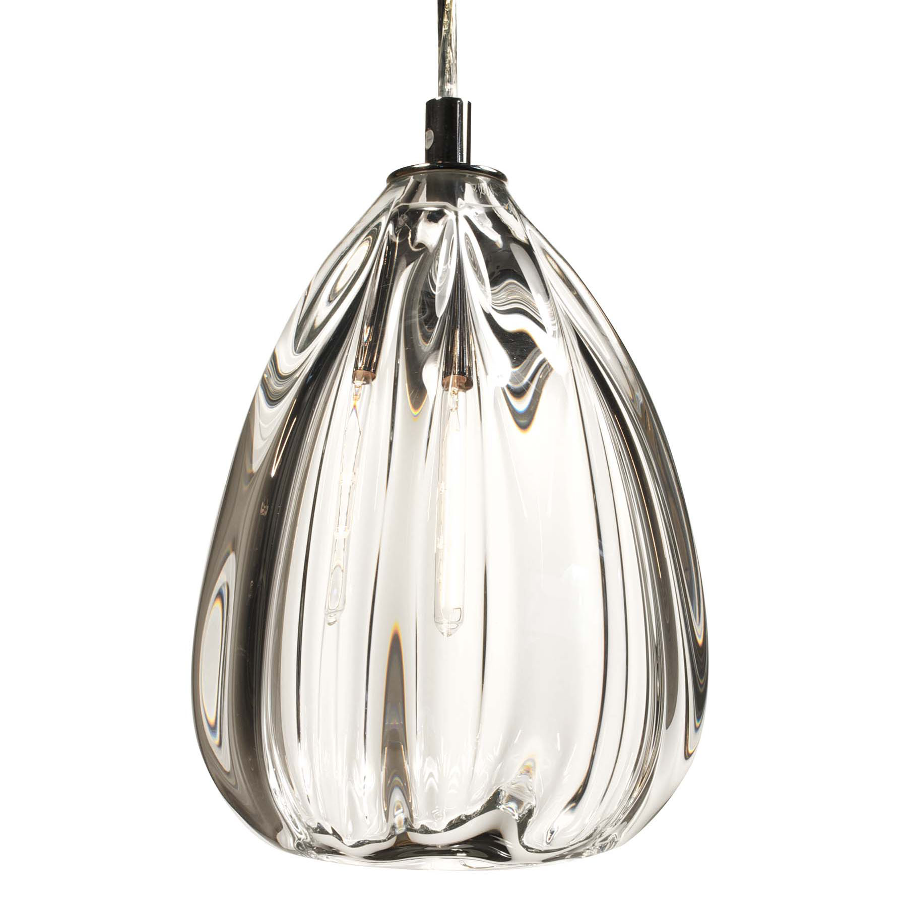 Hand Blown Glass Lighting. Thick Clear Barnacle Cone Pendant by siemon and salazar