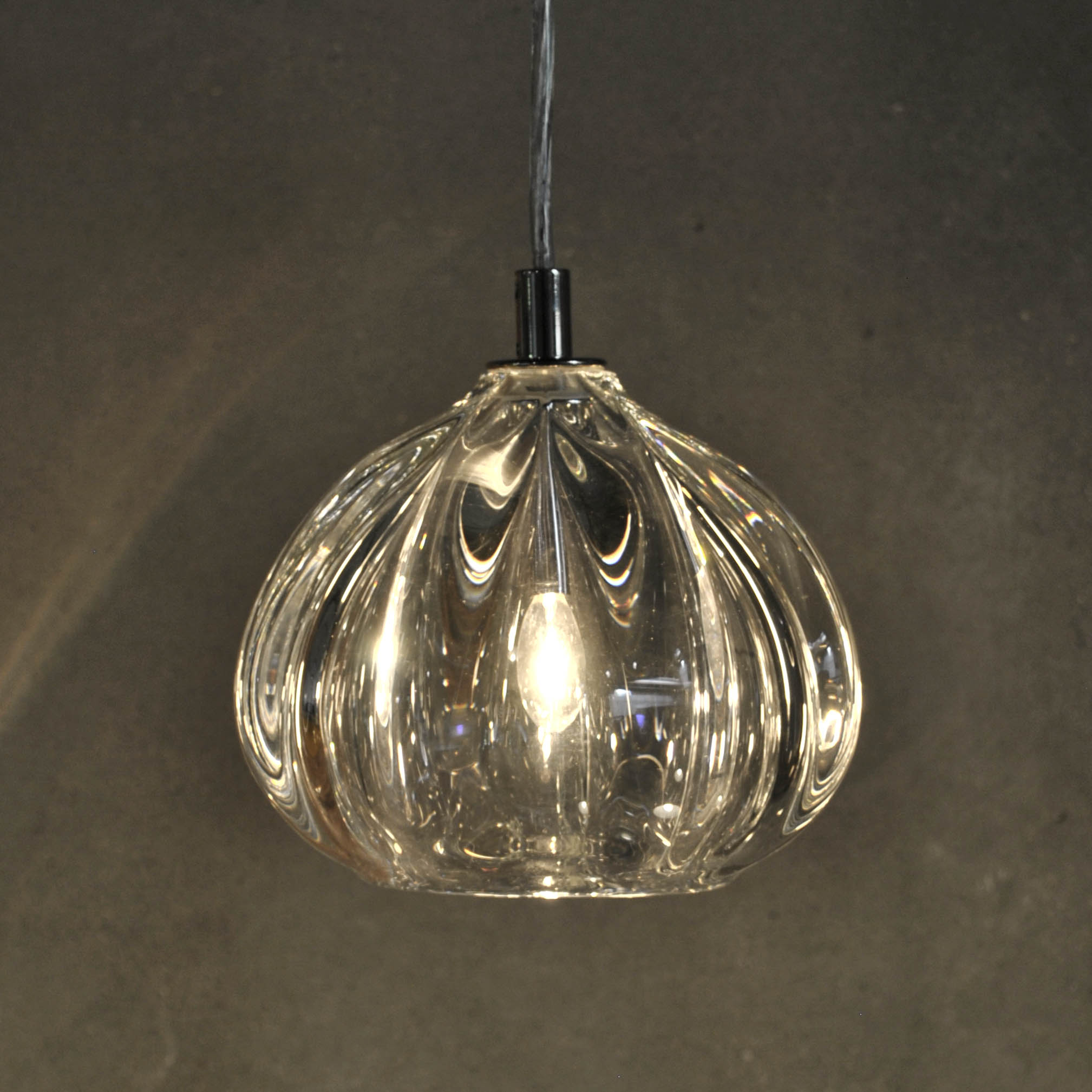Hand Blown Glass Lighting. Thick Clear Barnacle Urchin Pendant by siemon and salazar