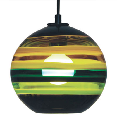 Hand Blown Glass Lighting. Moss Banded Orb Pendant by siemon and salazar
