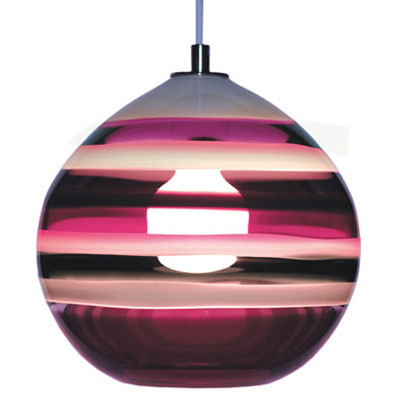 Hand Blown Glass Lighting. Amethyst Banded Orb Pendant by siemon and salazar