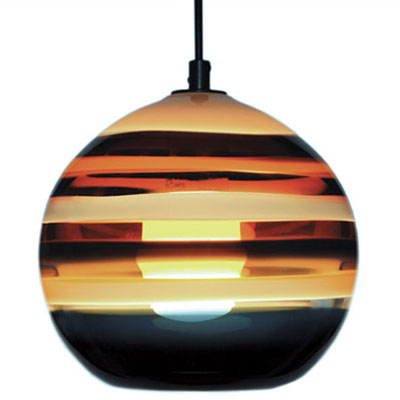 Hand Blown Glass Lighting. Amber Banded Orb Pendant by siemon and salazar