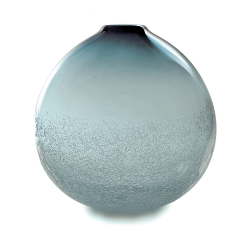 grey bubble flat round vase