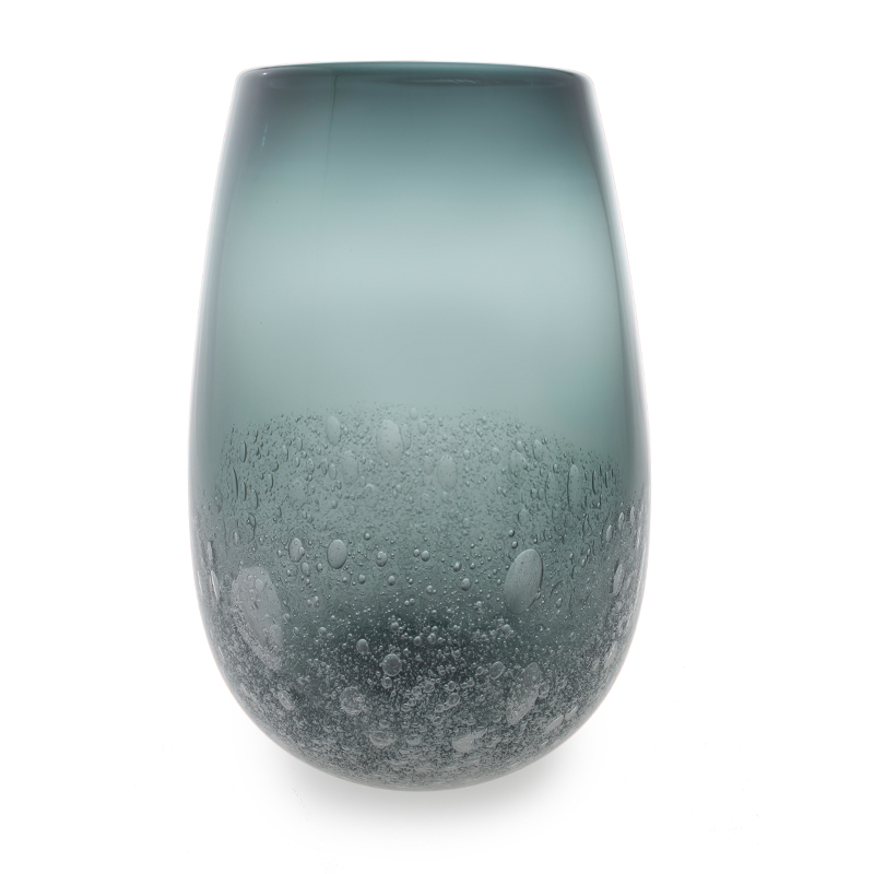 Hand blown glass decor. grey bubble barrel vase by siemon and salazar