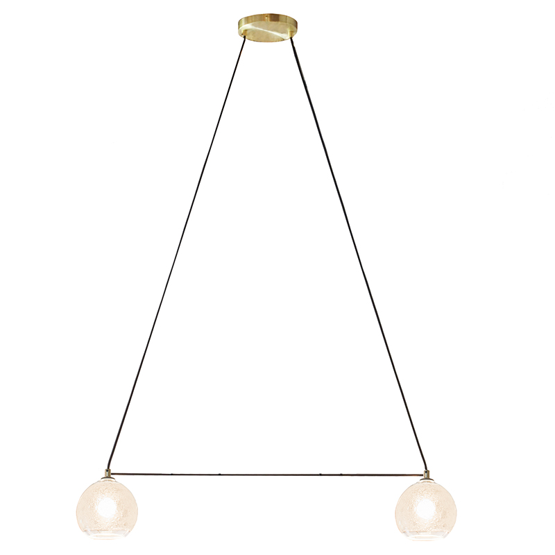 2 light clear bubble linea chandelier