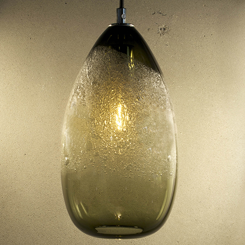 Hand Blown Glass Lighting. bronze cone bubble pendant by siemon and salazar