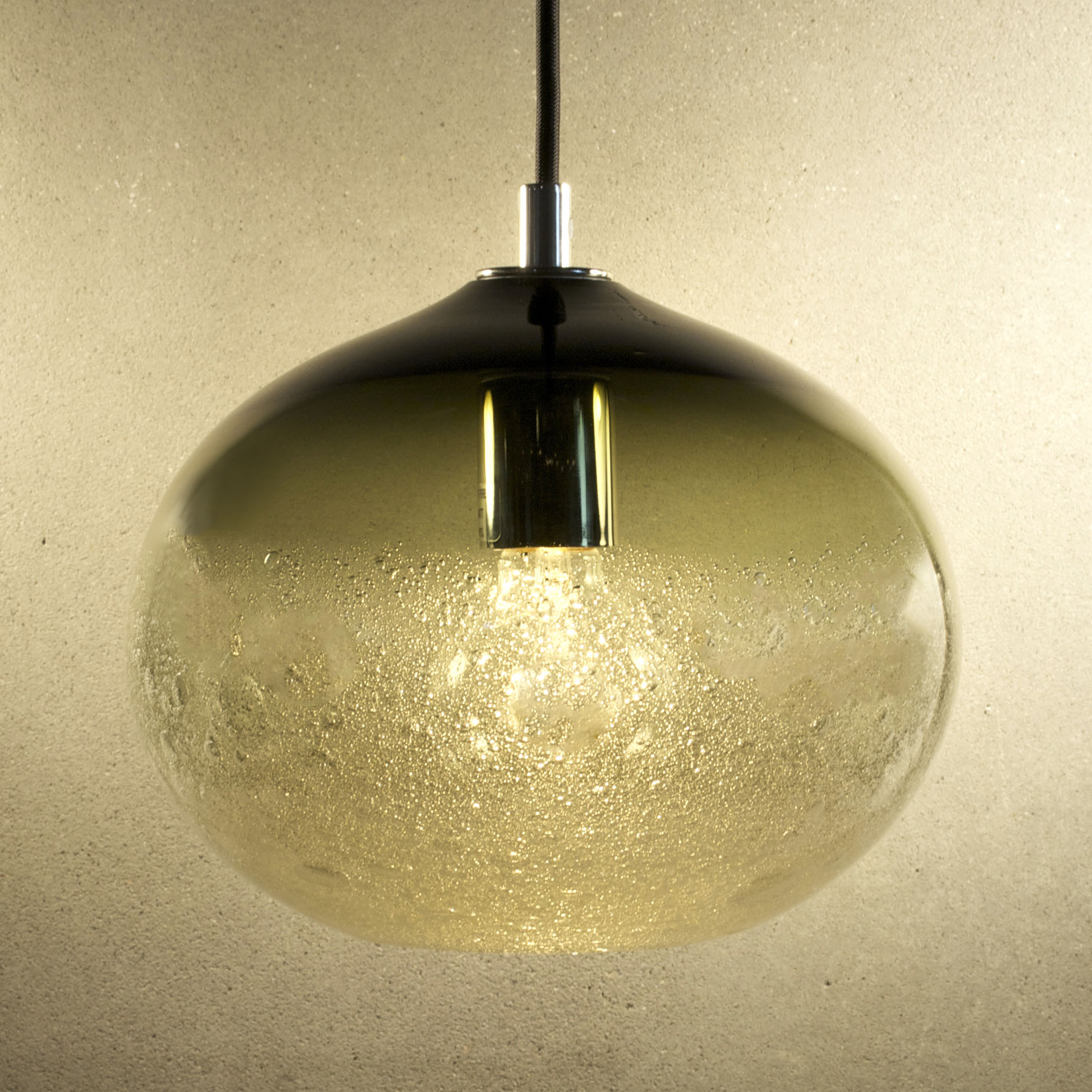 Hand Blown Glass Lighting. bronze ellipse bubble pendant by siemon and salazar
