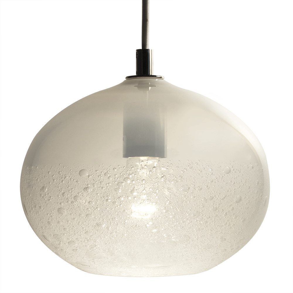 Hand Blown Glass Lighting. alabaster ellipse bubble pendant by siemon and salazar