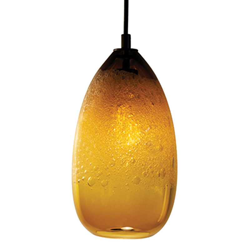 Hand Blown Glass Lighting. amber cone bubble pendant by siemon and salazar