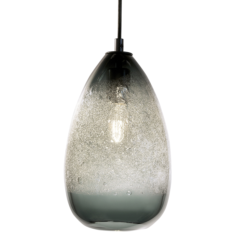 Hand Blown Glass Lighting. grey cone bubble pendant by siemon and salazar