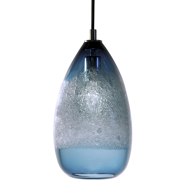Hand Blown Glass Lighting. steel blue cone bubble pendant by siemon and salazar