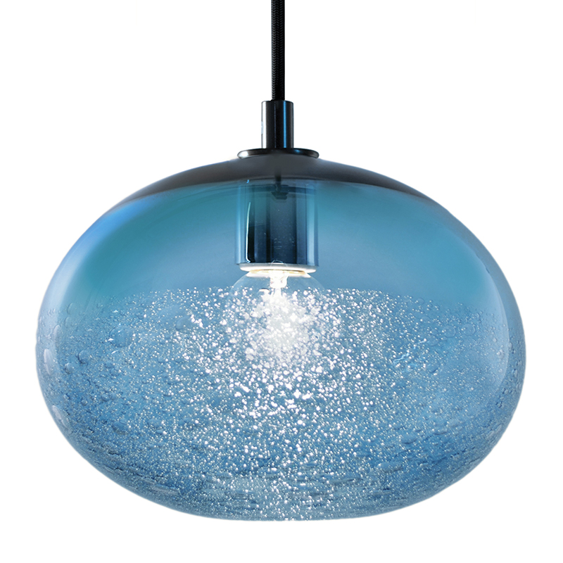 Hand Blown Glass Lighting. steel blue ellipse bubble pendant by siemon and salazar
