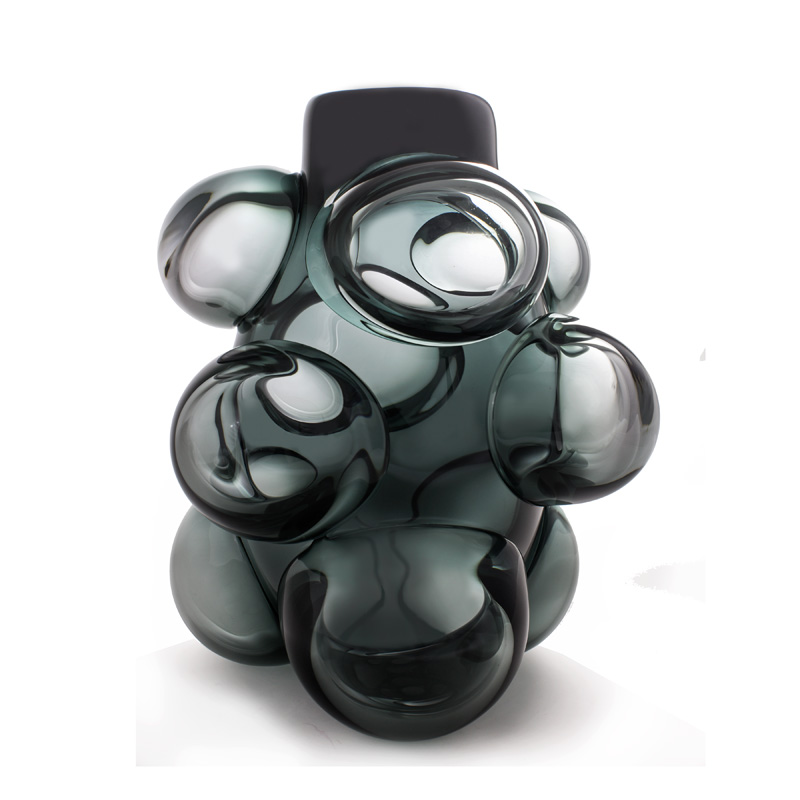 Hand blown glass decor. Grey Cumulo Barrel Vase by siemon and salazar