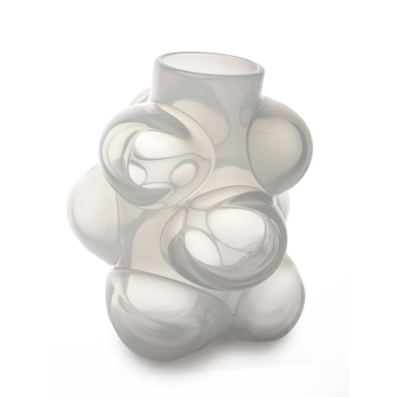 Hand blown glass decor. Alabaster Cumulo Barrel Vase by siemon and salazar