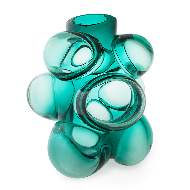 Hand blown glass decor. jade cumulo barrel vase by siemon and salazar
