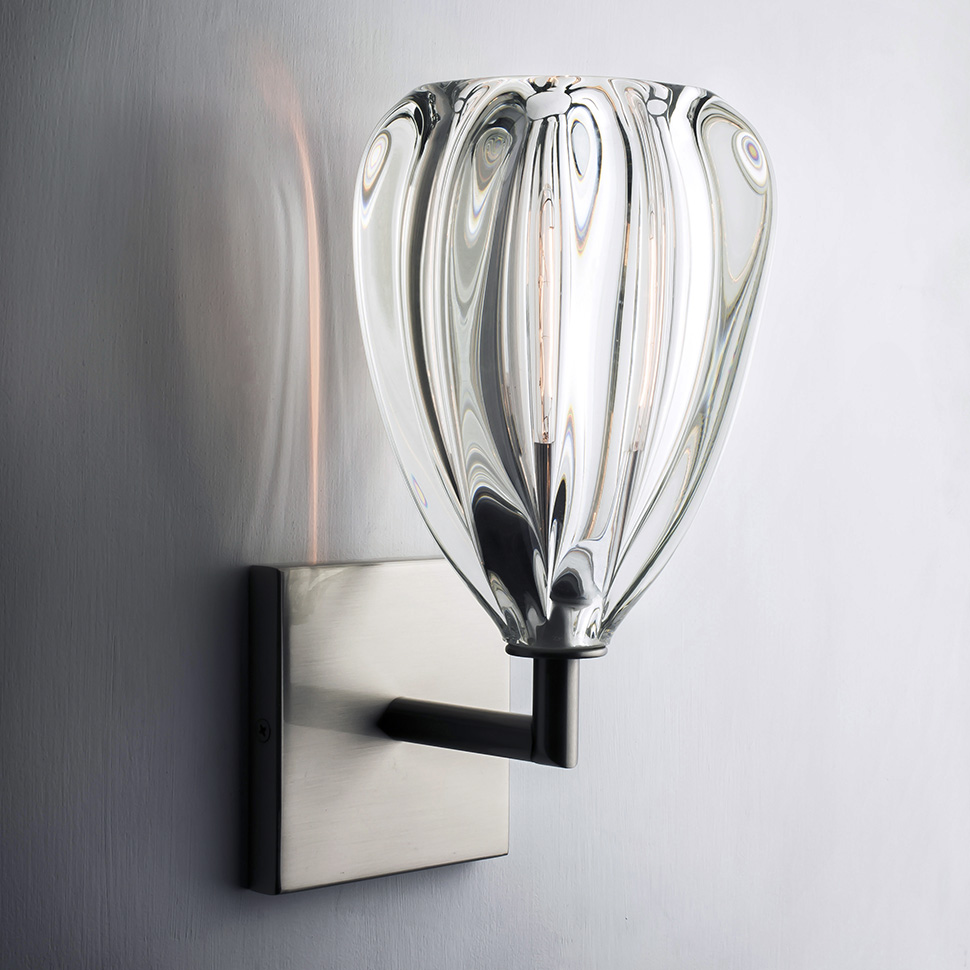 hand blown glass wall sconce by siemon and salazar