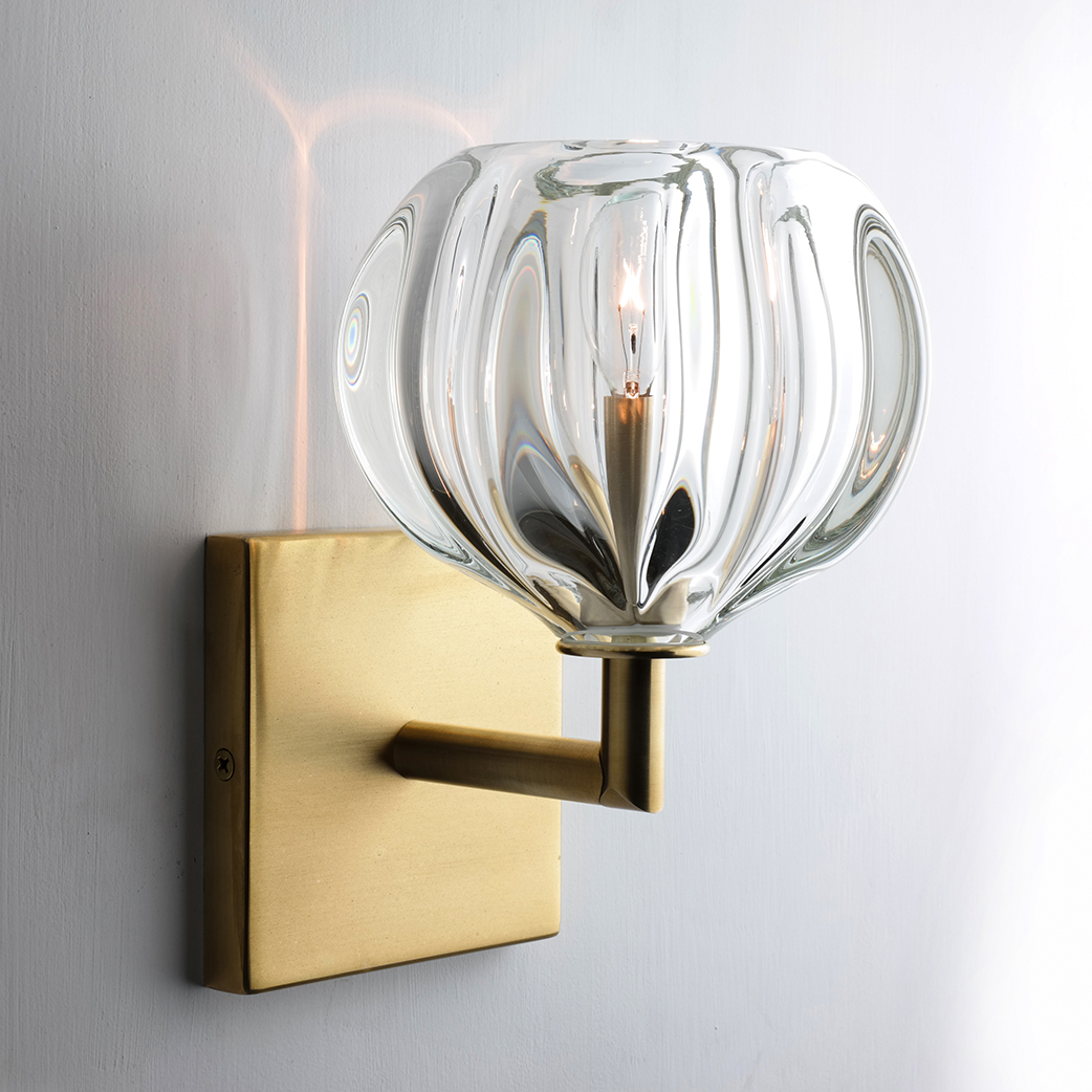 Hand Blown Glass Lighting. clear urchin elbow sconce by siemon and salazar
