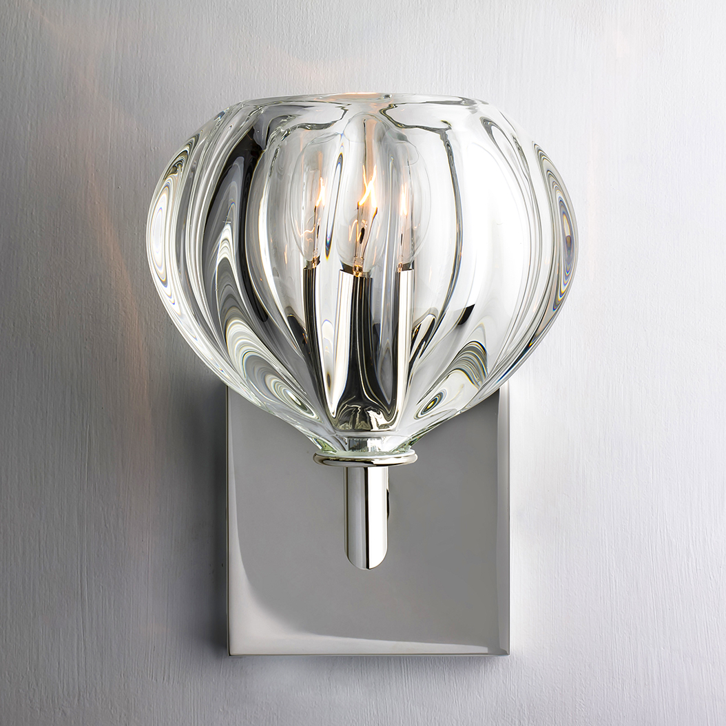 clear urchin elbow sconce