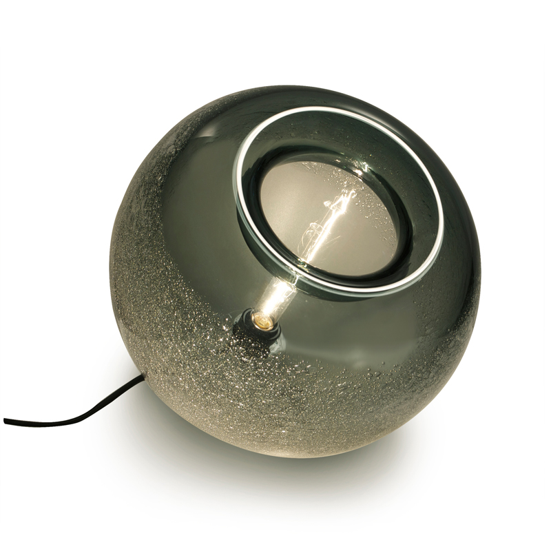 Hand Blown Glass Lighting. grey bubble orb table lamp by siemon and salazar
