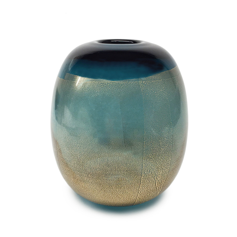 gold leaf steel blue pill vase